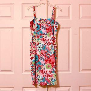 Floral Print Sleeveless Midi Dress